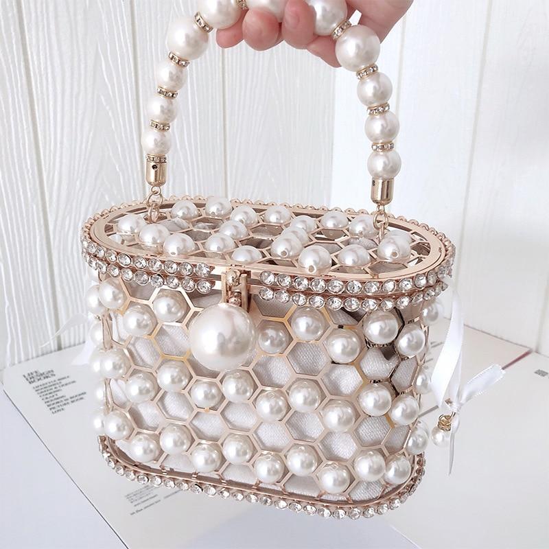 Hollow Out Pearl Flower Mini Bucket Handbag Women's  Evening Clutch Bag Luxury Designer Diamond Beaded Wedding Clutch