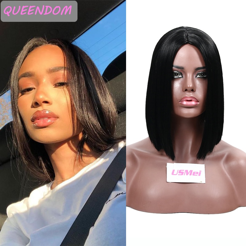 12 Inch Short Synthetic Hair Wig Natural Straight Middle Part Women's Wigs African American Heat Resistant Fiber Cosplay Bob Wig