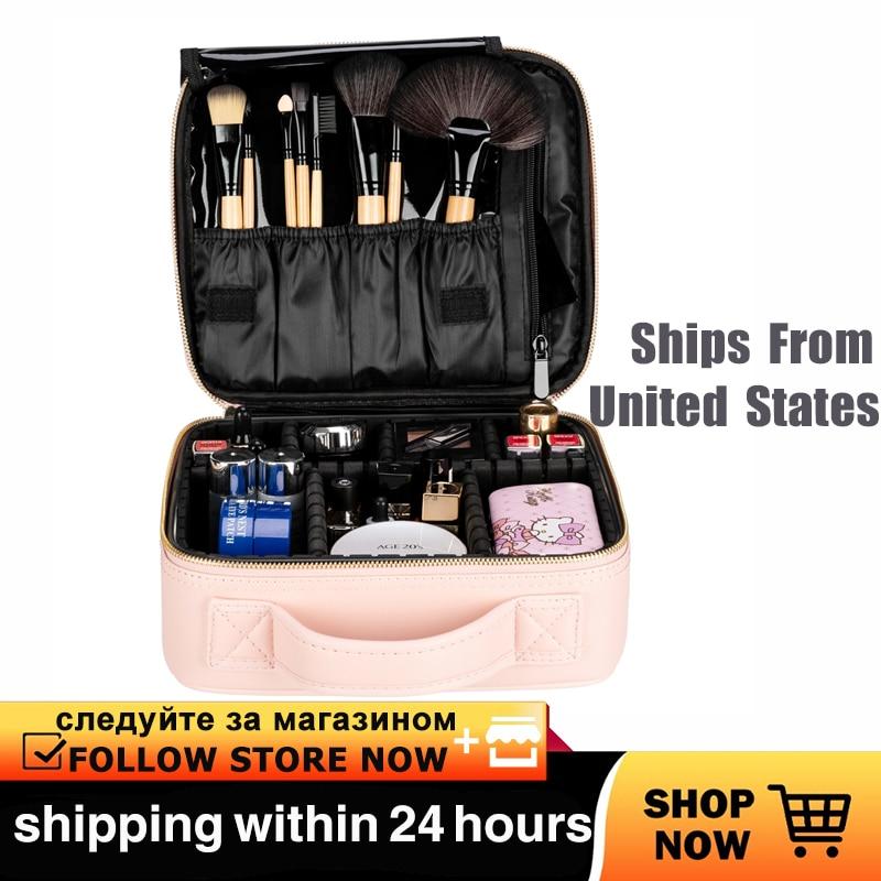 Estuches cosméticos profesional de alta capacidad multicapa Portátil Bolsa de maquillaje de viaje Correa Rosa Dropshipping bolsa de cosméticos de viaje