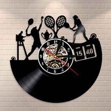 Horloge murale pour joueur de Tennis   Horloge murale, Art pour sport, jeu de Tennis, disque vinyle en direct, décor mural rétro pour Club de Tennis, cadeau