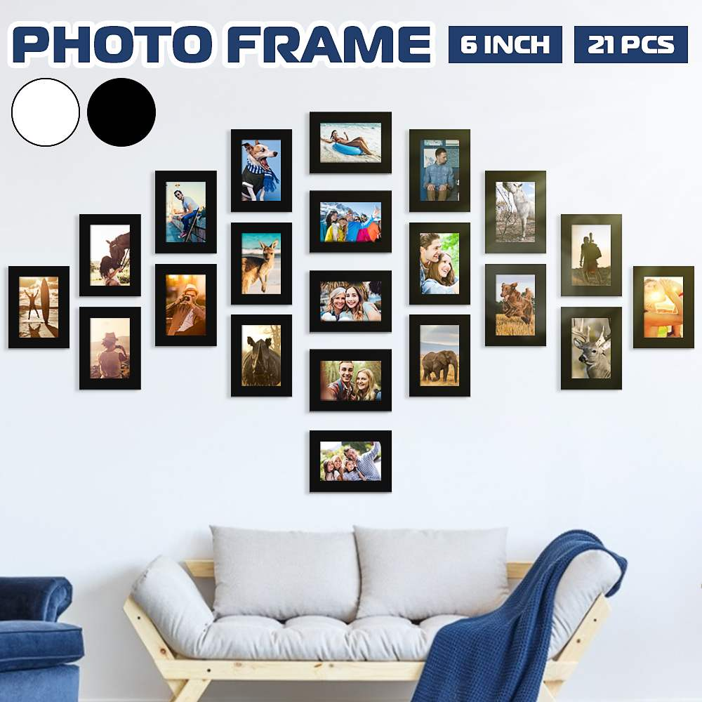 AliExpress - 11pcs Picture Photo Frame Set Removable Wall Mural Black White Color DIY Paper Photos Frames Sticker Decal Home Living RoomDecor