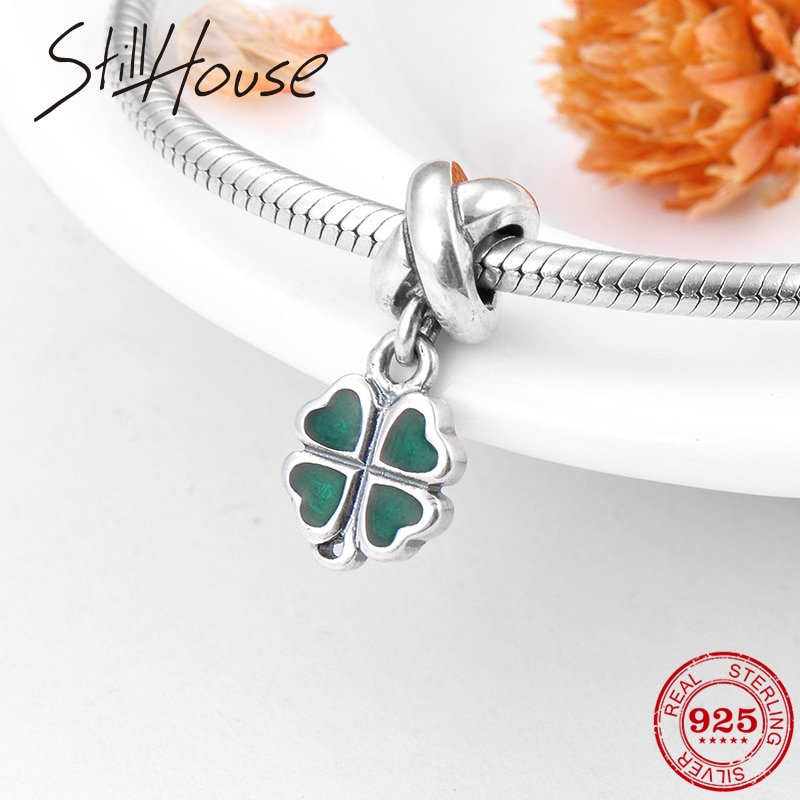 2018 Trendy Green Lucky Clover 925 Sterling Silver Enamel Charms Pendants Fit Original Pandora Charm Bracelet Jewelry Making