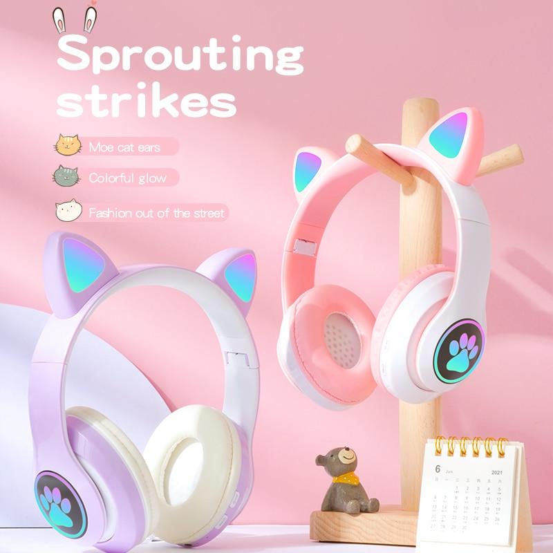 Flash LED Cute Cat Ear Bluetooth Headphone Kid Girl Music Wireless Helmet  TF Card Gaming Earphone W