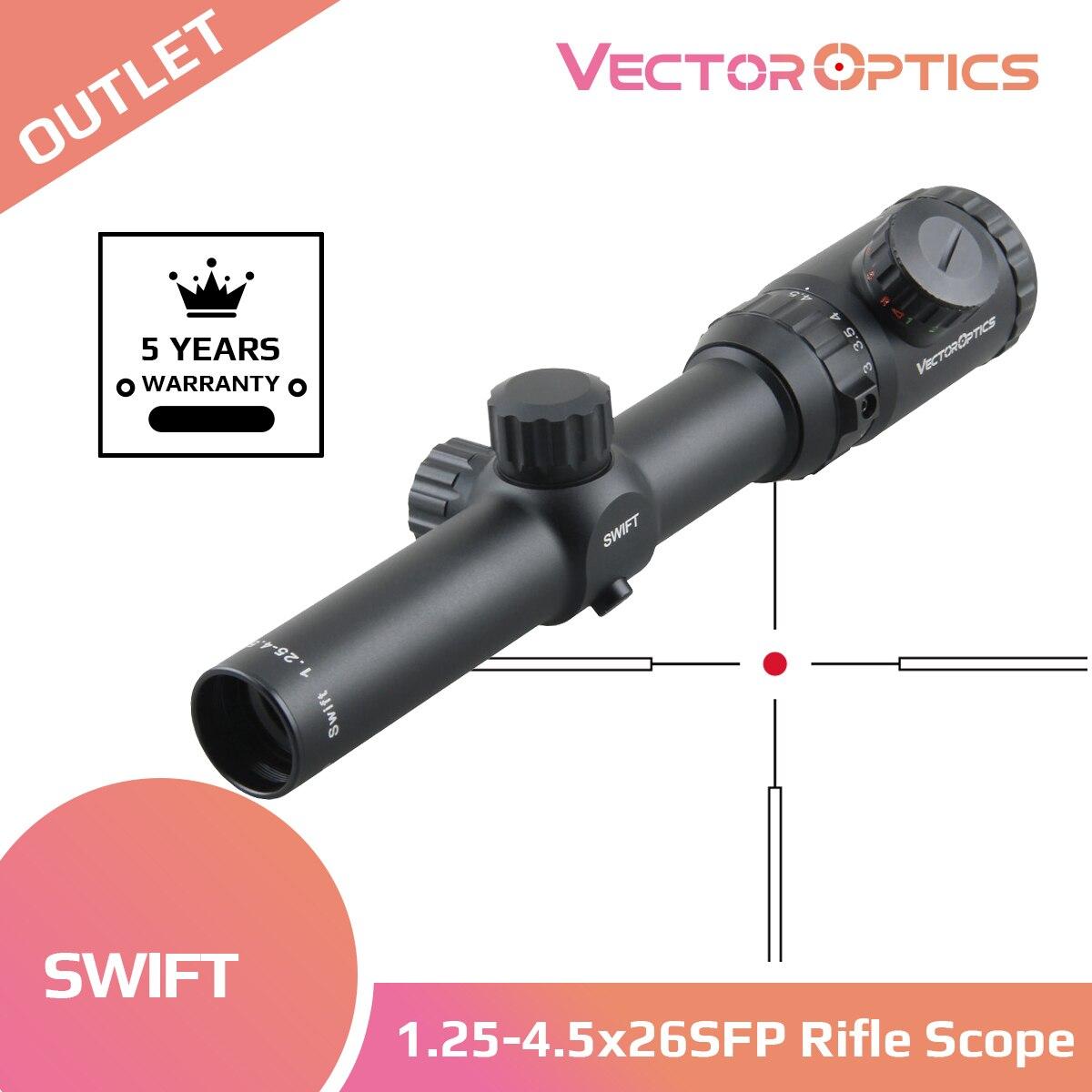 مكافحة ناقلات البصريات سويفت 1.25-4.5x26 المدمجة الصيد Riflescope طويل العين الإغاثة 30 مللي متر أحادية أنبوب مع مركز مضيئة نقطة 5 مستويات