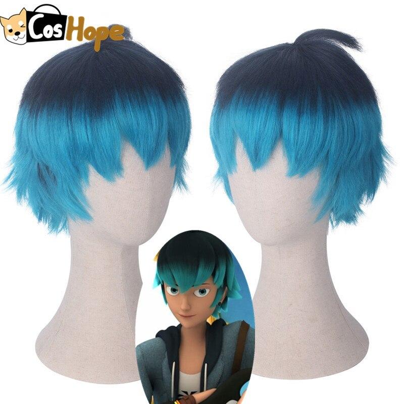 Luka couffaine cosplay peruca de cabelo curto preto azul cosplay anime resistente ao calor perucas sintéticas halloween cosplay para homem