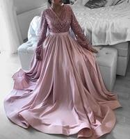 pink v neck long sleeve evening dress elegant sequin bodice satin skirt a line plus size prom formal gown vestidos dubai