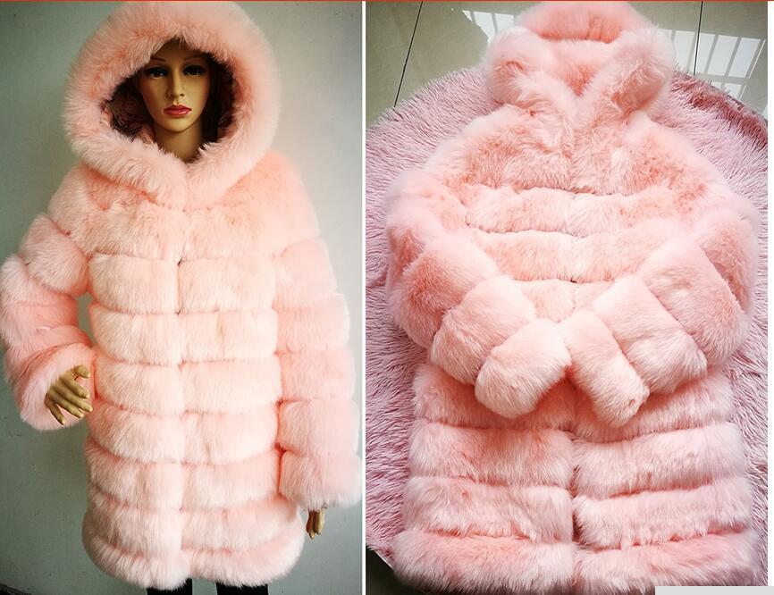 New popular fluffy imitation fur coat stitched Hooded Coat artificial fox fur