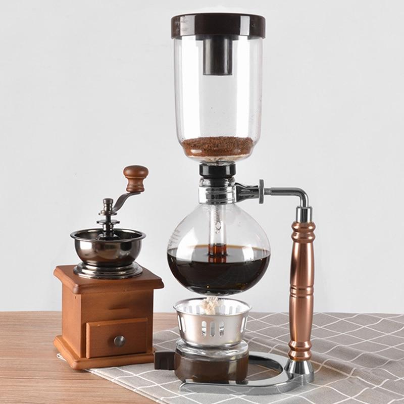 Caliente estilo japonés máquina de café de sifón té sifón olla de vacío cafetera tipo vidrio filtro para máquina de café 3Cup