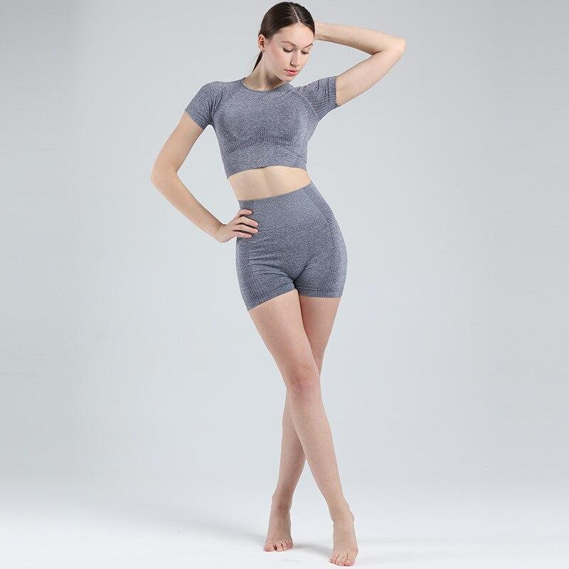 Pantalones cortos de cintura alta de 2 piezas, conjuntos de ropa deportiva de Fitness, juego Vital de Yoga deportivo sin costuras, conjunto de gimnasio de manga corta para mujer, ropa de entrenamiento