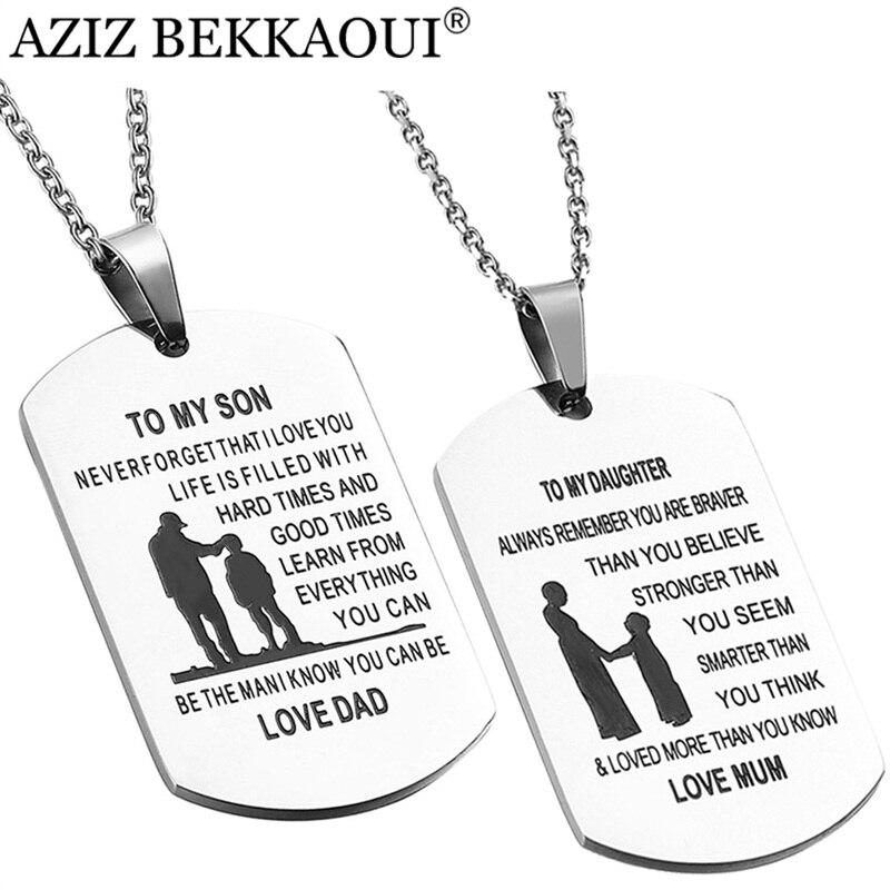 AZIZ BEKKAOUI a mi hijo de acero inoxidable colgante collares grabar nombre amor papá/mamá ID Tag collares joyas logotipo personalizado