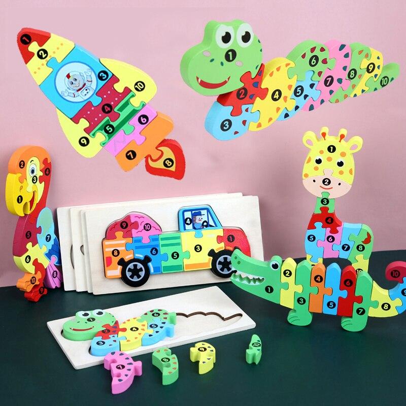 3D головоломки с животными, динозавр, головоломка, игра для детей, Обучающие игрушки, буквы, цифры, деревянные головоломки, головоломки для по...