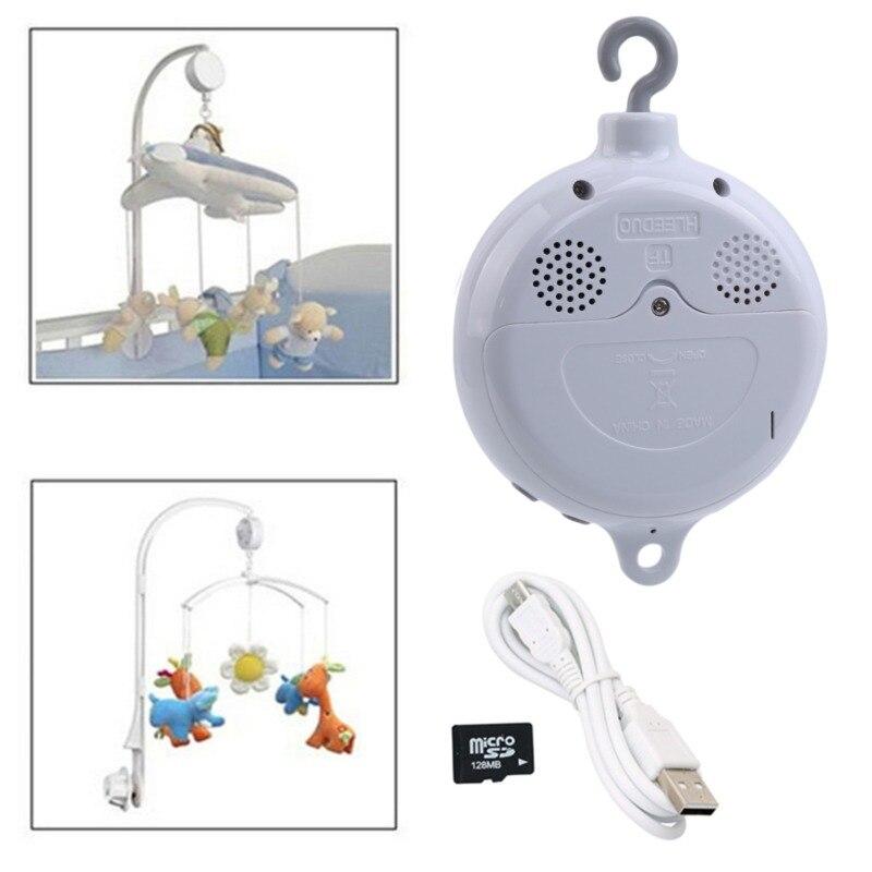 Song Dreh Baby Mobile Krippe Bett Glocke Spielzeug Batterie-betrieben Bewegung Musik Box Neugeborenen Glocke Krippe Baby Spielzeug + 128MB Sd-karte