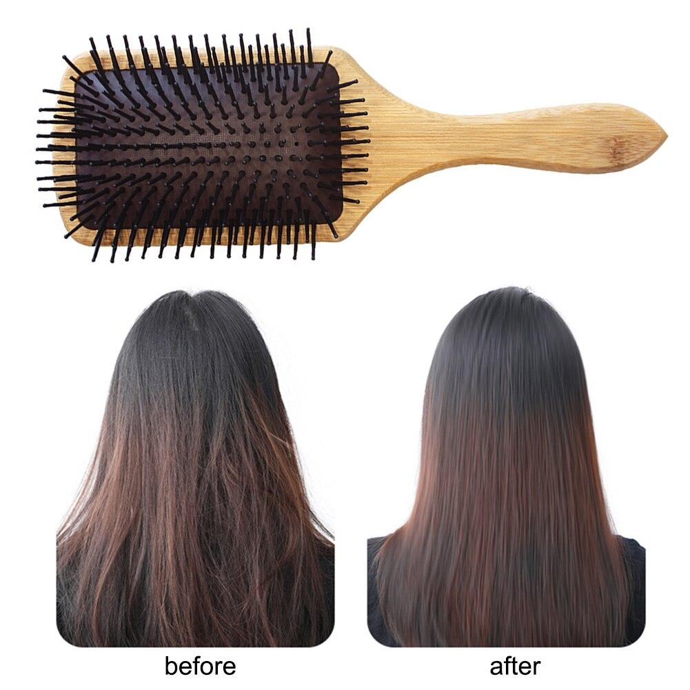 Peine de madera profesional cojín de paleta saludable para pérdida de cabello cepillo de masaje peine para el cabello para el cuero cabelludo peine de bambú saludable