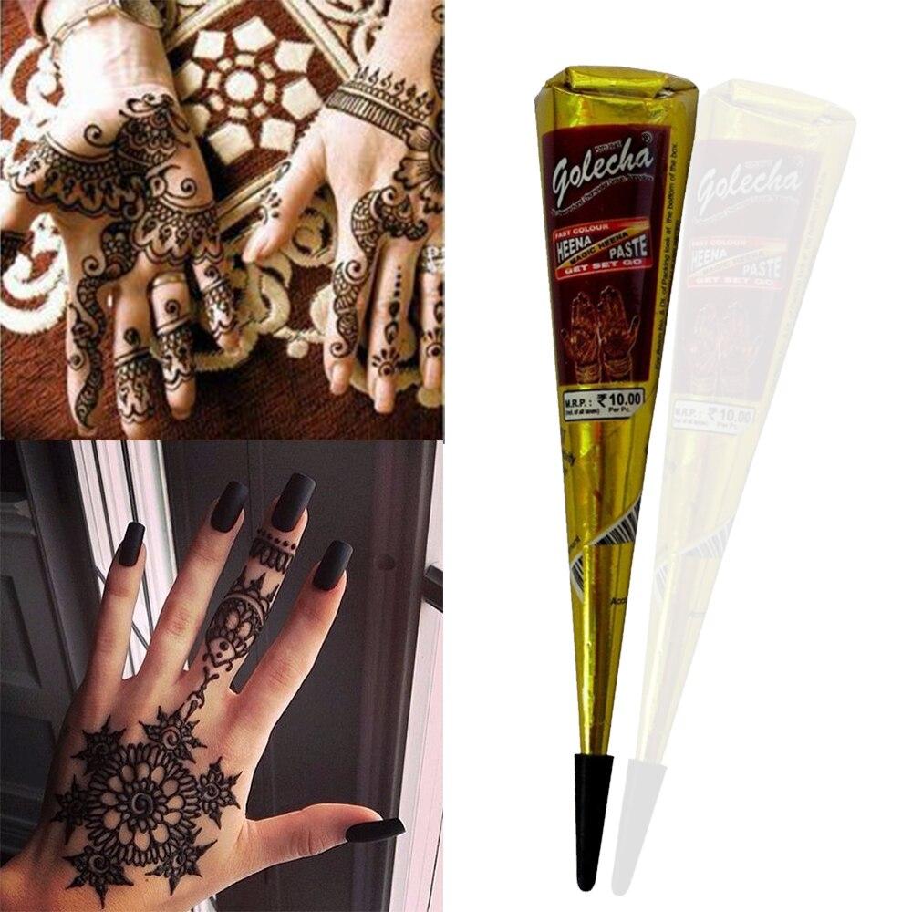 1 Uds tinta de Color tatuaje de Henna tatuaje pasta India impermeable tatuaje Kit pintura de arte corporal crema Mehandi personalidad de moda