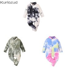 Baby's Boy Girl 0-18M Long Sleeve Jumpsuit Autumn Fashion Tie-dye Single-breasted One Piece Long P