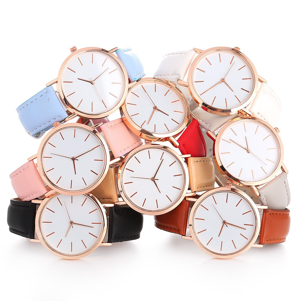 2021 Woman Fashion Leather Band Analog Quartz Round Wrist Creative Dress Watch relojes para mujer mo