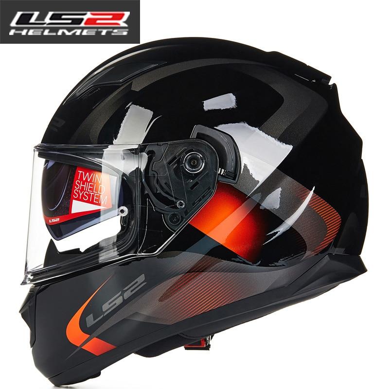 LS2 FF328 تيار كامل الوجه خوذة دراجة نارية مع عدسة مزدوجة رجل امرأة Capacete ls2 خوذة كاسكو موتو سباق cascos الفقرة موتو