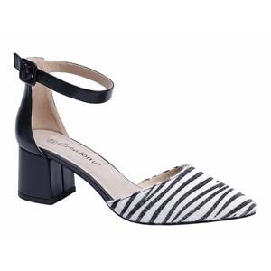 MaxMuxun  Animal Zebra Print Party Dress Pump Adorable Low Block Heel Closed Toe Chunky Sandals
