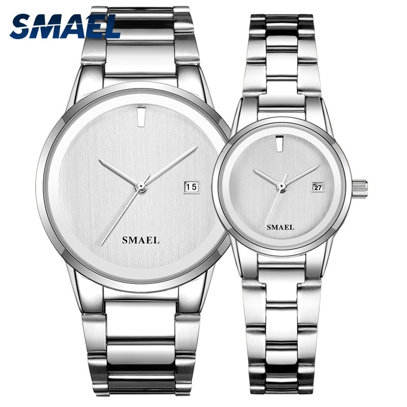 Smael oferta relógio conjunto casal luxo clássico relógios de aço inoxidável esplêndida senhora à prova dwaterproof água reloj mujer relogio masculino