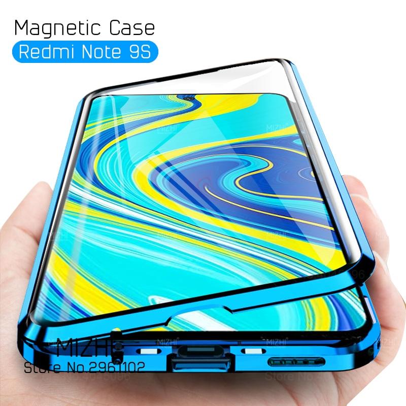 Funda de cristal de doble cara 360 para Xiaomi Redmi Note 9 S, funda trasera con parachoques magnético para Xiaomi Redmi Note 9 S Not 9 S, funda Capa