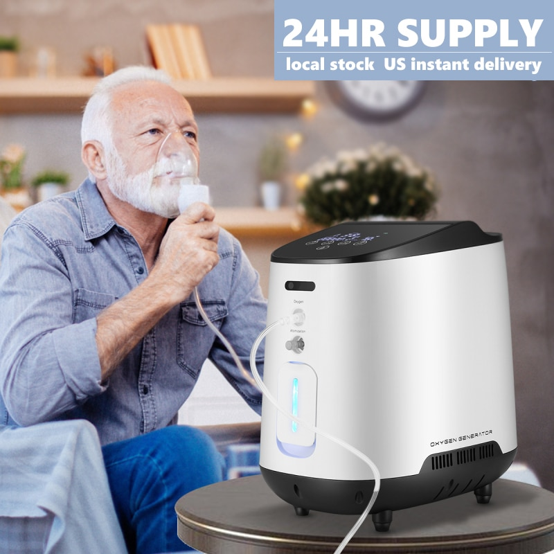 AUPORO Oxygen Concentrator Machine 1-7L/min Adjustable Portable Oxygen Machine Air Purifier For Home Travel Car Accessories Use