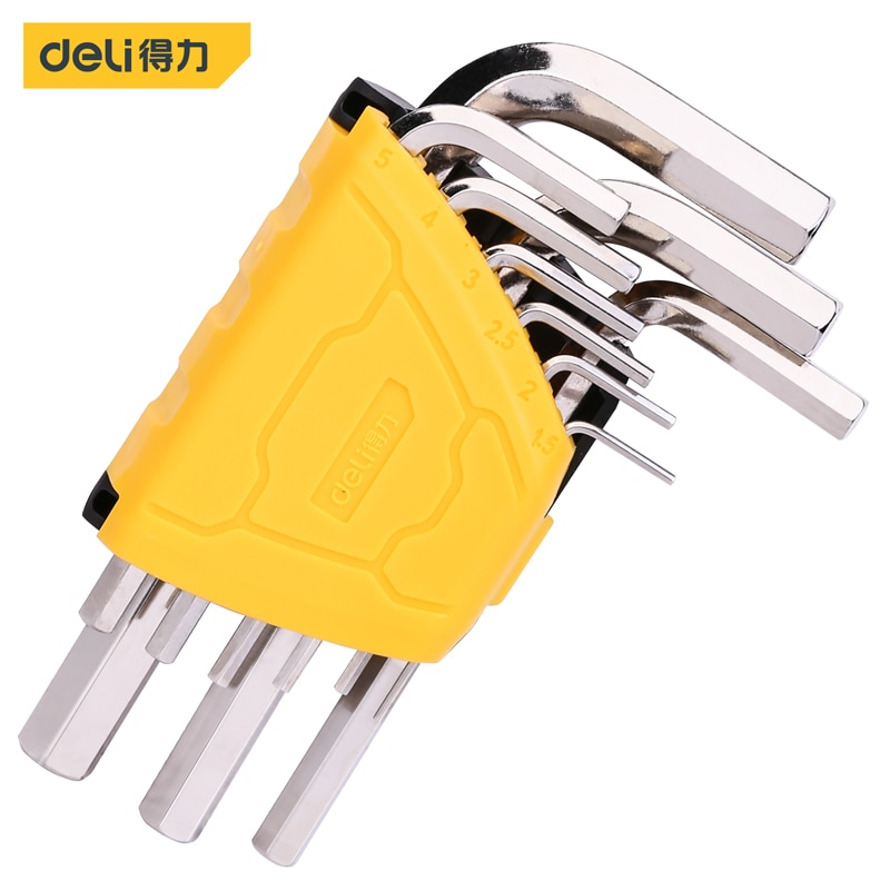 Deli 9-Piece Set Of Flat Head Hexagon Socket Wrench Set High L Type Pipe Perforation Hexagon Sleeves Wrench Elbow Pipe Wrench