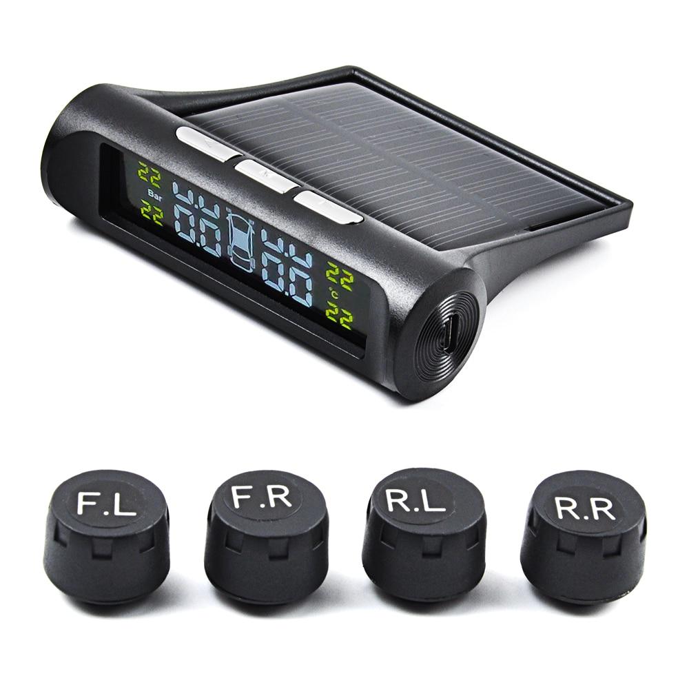 Sistema de supervisión de presión de neumáticos Solar OGE TPMS, Monitor de seguridad de neumáticos inteligente Universal, pantalla LCD con 4 tapones externos Sens