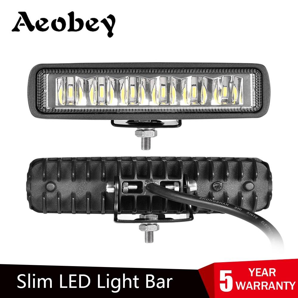 Barra de luces LED delgada, 18W 6 pulgadas 6LED, resistente al agua IP68, foco de trabajo, haz de luz para trabajo, conducción fuera de carretera, barco, coche, Tractor, camión