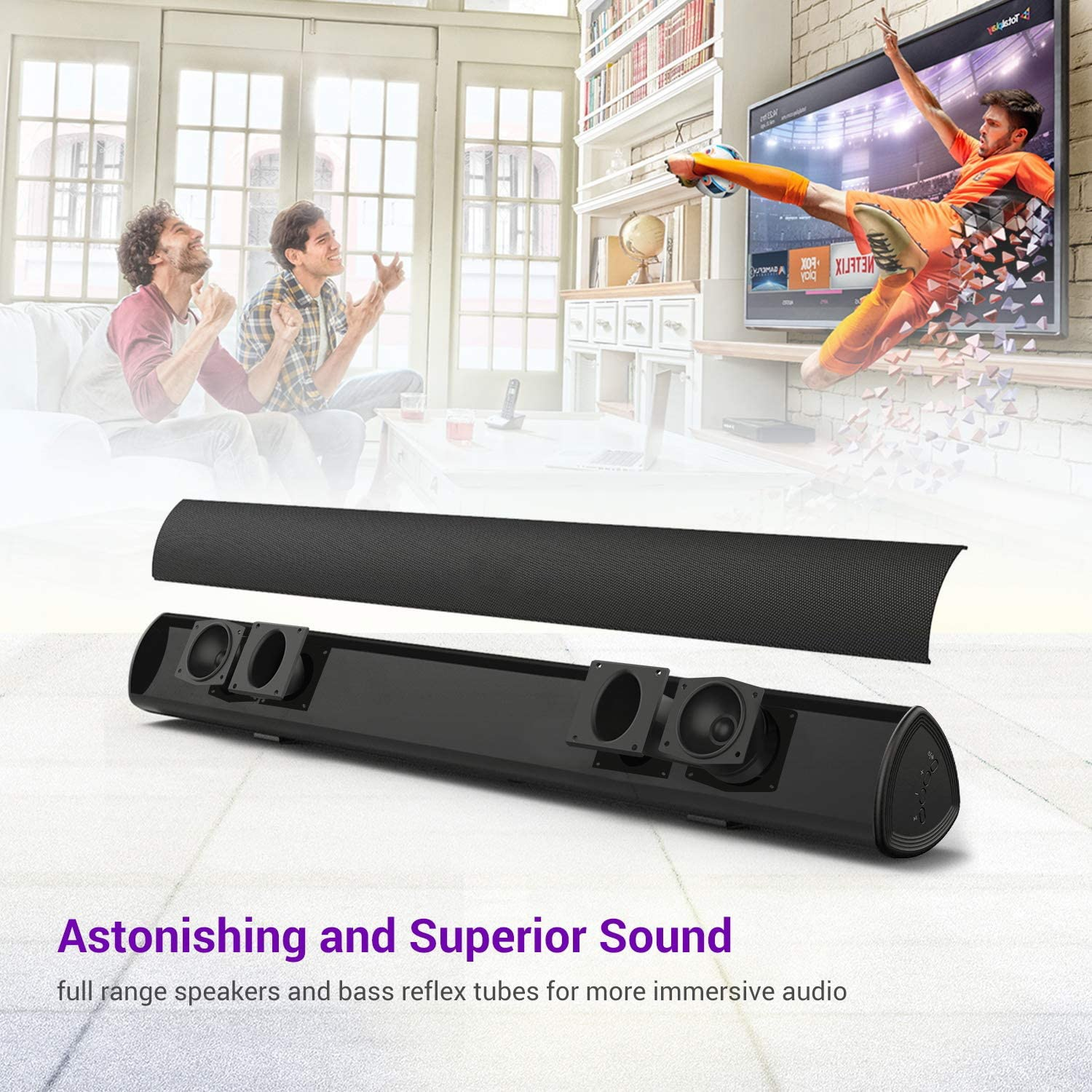 40W TV Soundbar Wireless Bluetooth 5.0 Sound Bar Wired Home Theater System Speaker Subwoofer Stereo Surround with Remote Control enlarge