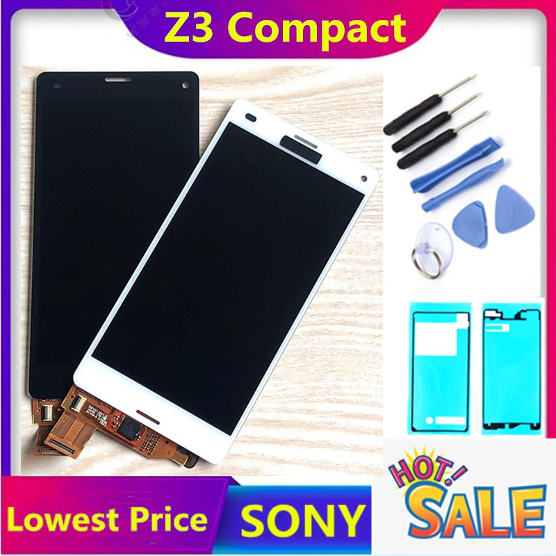 "Original 4.6 ""lcd para sony xperia z3 compacto tela de toque sem moldura z3 mini d5803 d5833 para sony xperia z3 compacto lcd"