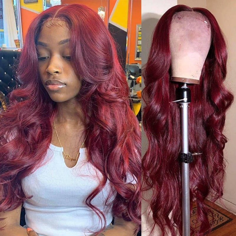 Body Wave Lace Front Wig Human Hair Wigs For Women Burgundy Hd Transparent Frontal Bob Pre Plucked Brazilian 99j Lace Front Wig