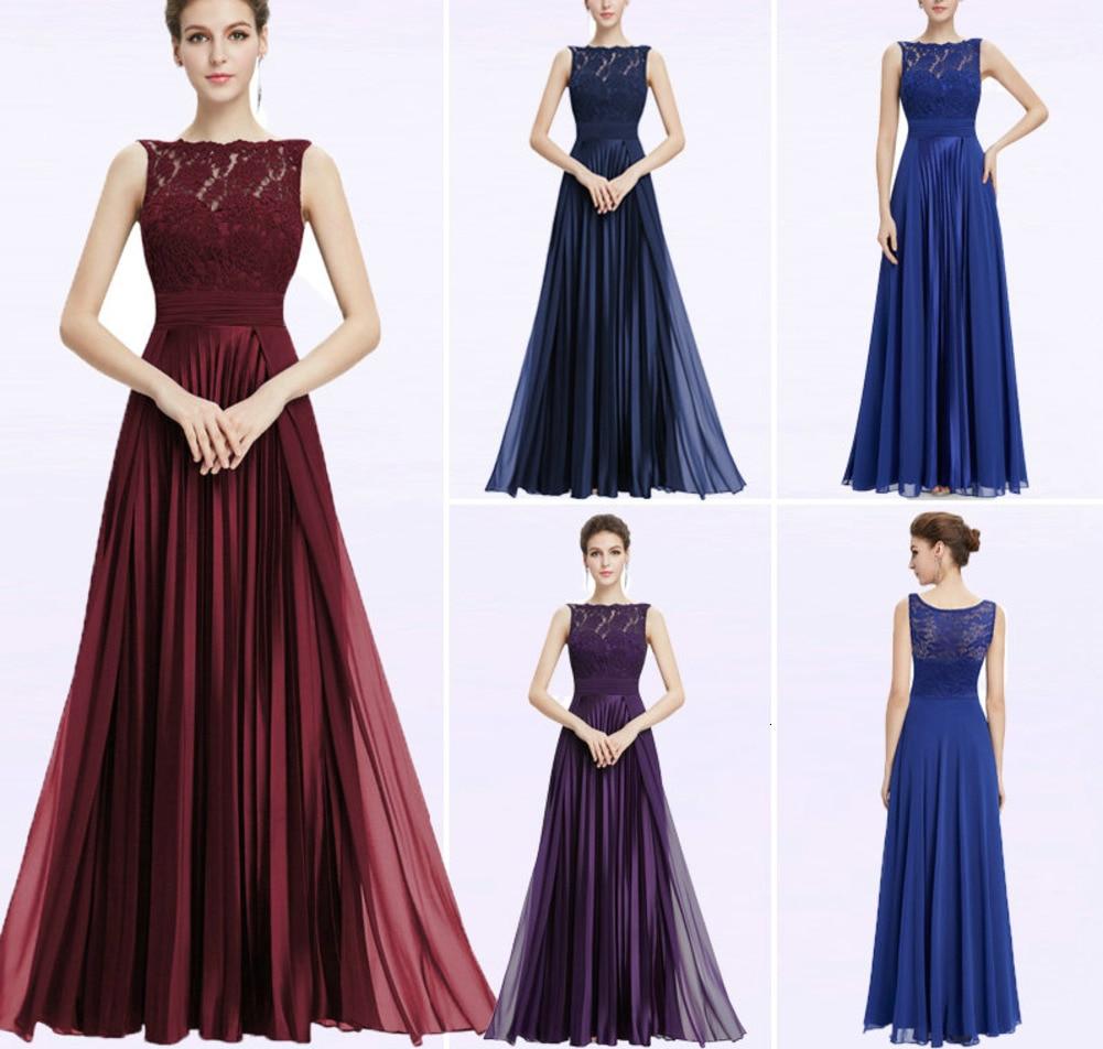 فستان سهرة للمناسبات الخاصة, فستان سهرة رسمي بفتحة رقبة دائرية بتصميم مثير طويل من الدانتيل باللون الأحمر من موضة 2019 ، طراز EP08352