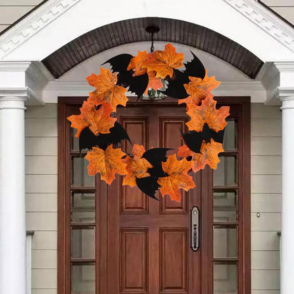 80 # Halloween decoración Bat corona colgante ventana puerta colgante hoja de arce guirnalda pegatinas islámicas papel tapiz 922