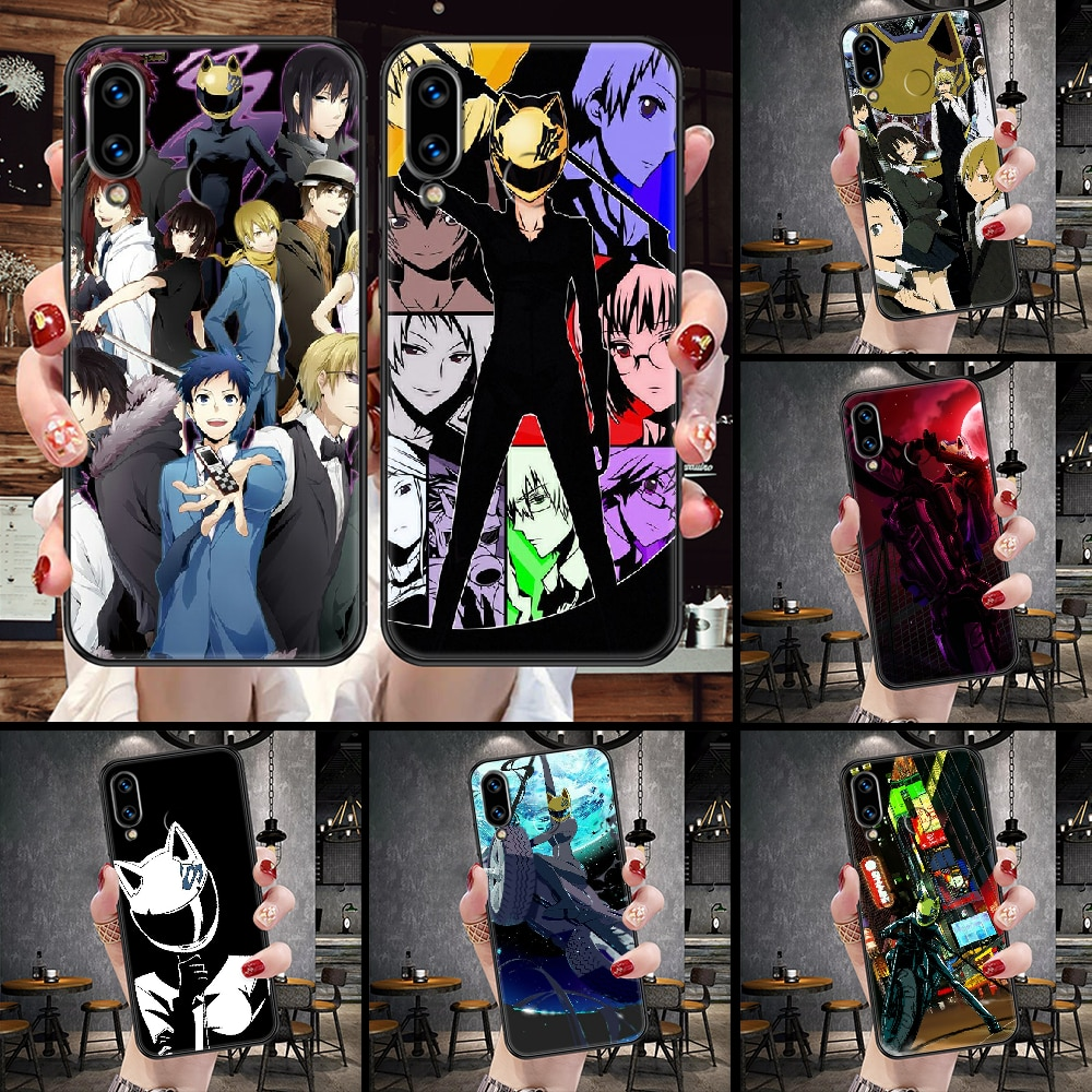 DuRaRaRa Anime Phone Case For Huawei Honor 6A 7A 7C 8A 8X 8 9 9X 10 10i 20 Lite Pro black 3D cell cover soft funda painting