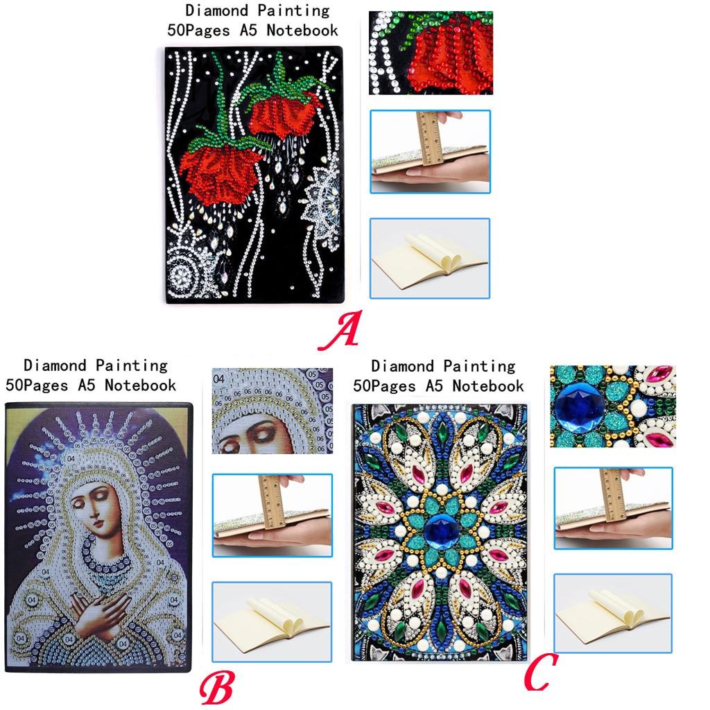 Planificador creativo diamantes cuaderno para pintar A5 bricolaje diamantes arte cubierta de libro diario 50 página Блокнот Канцелярия Dropship