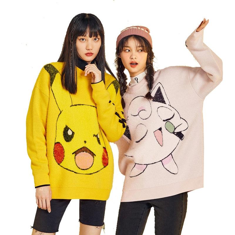 Jersey de POKEMON de invierno para niñas, jersey de manga larga, jersey de Pikachu Charmander, Jersey de punto, jersey de mujer