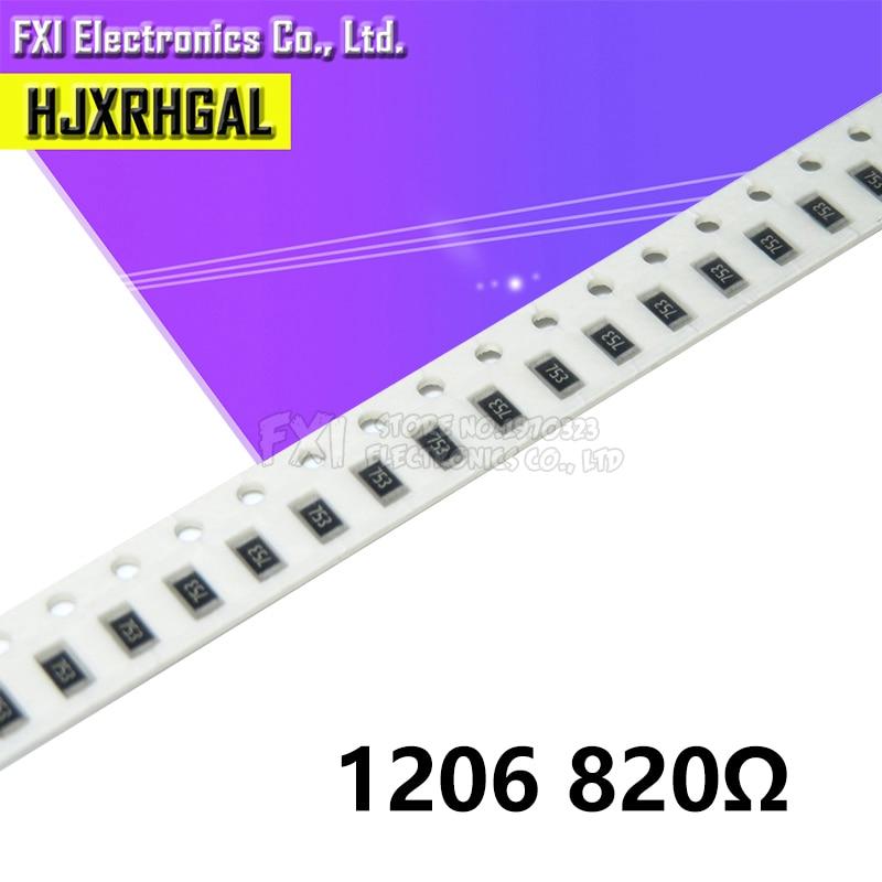 100 pçs 1206 smd resistor 820 ohm chip resistor 0.25 w 1/4 w 820r 821 novo original