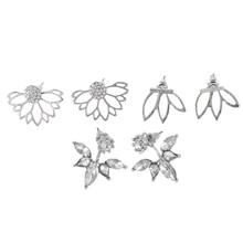 3 Pairs Lotus Flower Earrings Jackets For Women Girls Simple Chic Ear Stud Earrings