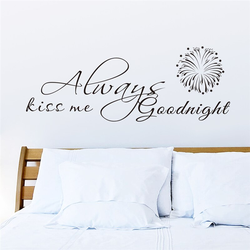 Pegatinas de pared siempre Kiss Me Good Night para calcomanía de decoración del hogar, dormitorio, Mural de Arte de PVC, Mural romántico, pegatinas creativas de amor