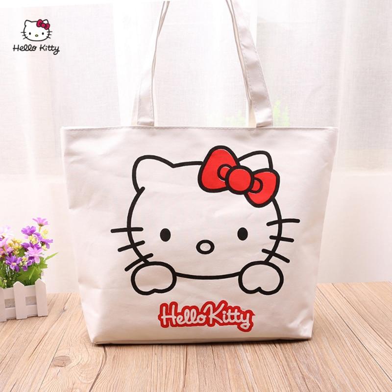 Hello Kitty sac à bandoulière sac à main mode tendance sac à main loisirs Shopping sac à main en toile sac à main poche boîte à déjeuner sac