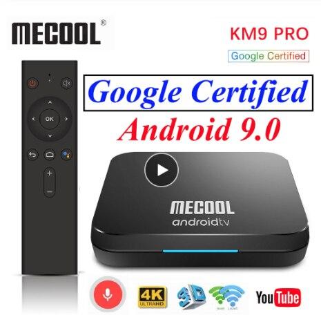 Certificado por Google Android 9,0 caja de TV Mecool KM9 Pro KM3 ATV Amlogic S905X2 Control de voz 2,4G/5G Wifi 4K Media Player