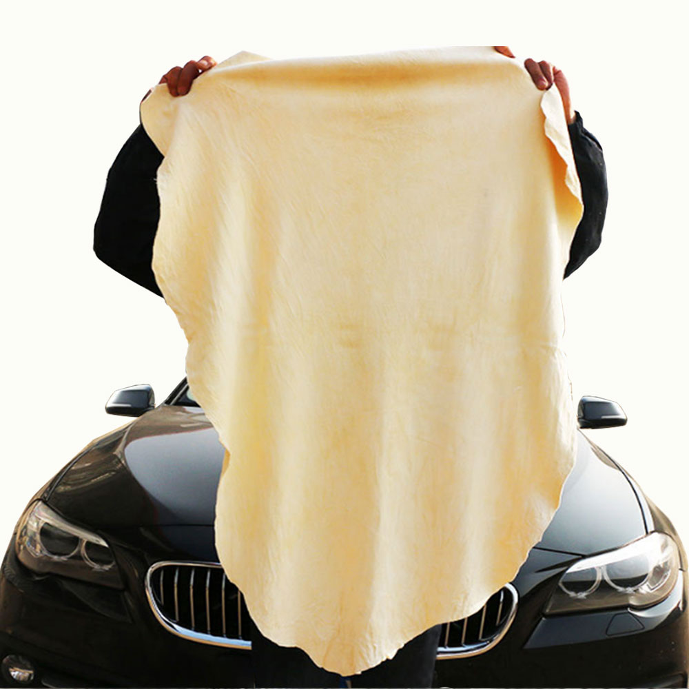 Купить с кэшбэком 1X Polishes Care Extra Large Auto Car Moto Natural Drying Chamois Paint Cleaner Polishing Shape Cleaning Genuine Leather Cloth