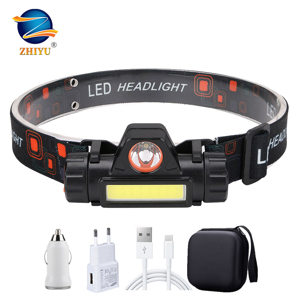 ZHIYU Portable Mini Flashlight Q5+COB Led Headlamp High Power Built-in 18650 Battery Outdoor Camping Headlight Stepless Dimming