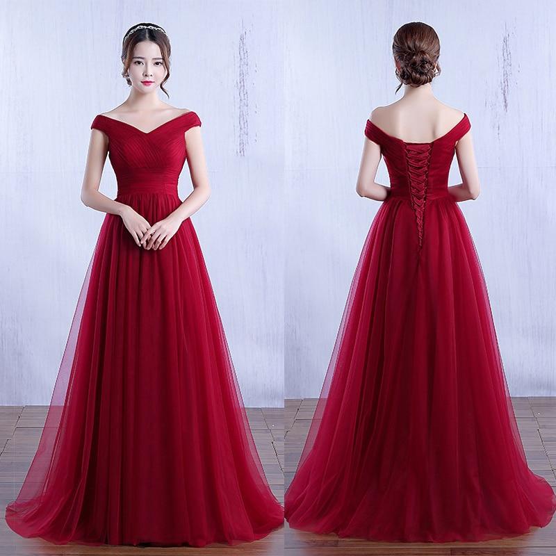 Beauty-Emily Evening Dresses For Woman Long Elegant Off Shoulder A-Line Tulle Prom Maxi Dress Party Gowns Vestidos De Fiesta