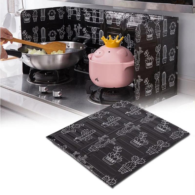 Складная Алюминиевая фольга, перегородка для газовой плиты, домашние принадлежности, сковорода для жарки, защита от разбрызгивания масла, кухонные аксессуары