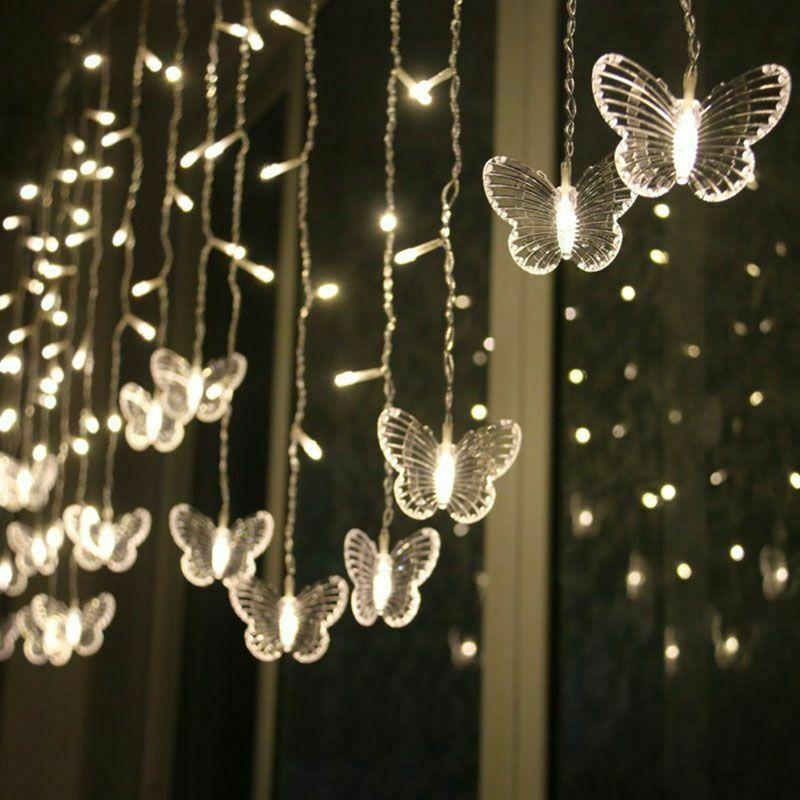 Cortina lámpara LED de mariposa para vacaciones, guirnalda de luces parpadeantes navideñas, decoración para jardín, farol de neón para boda de 220v