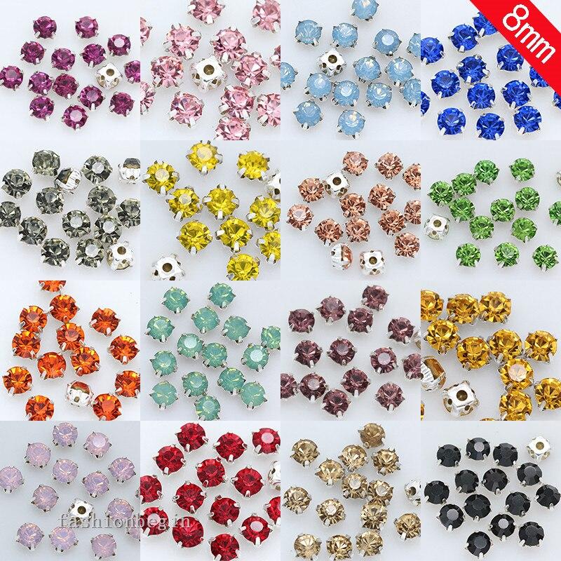 36p 8mm color coser en diamante de cristal garra plateada camisetas 4 agujeros piedra para coser hebilla joyería hacer cuentas ropa artesanal