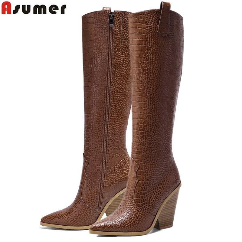 ASUMER-أحذية نسائية بكعب عال ، أحذية غربية عالية الجودة ، أحذية غربية ، أحذية غربية ، مقاس كبير 34-46