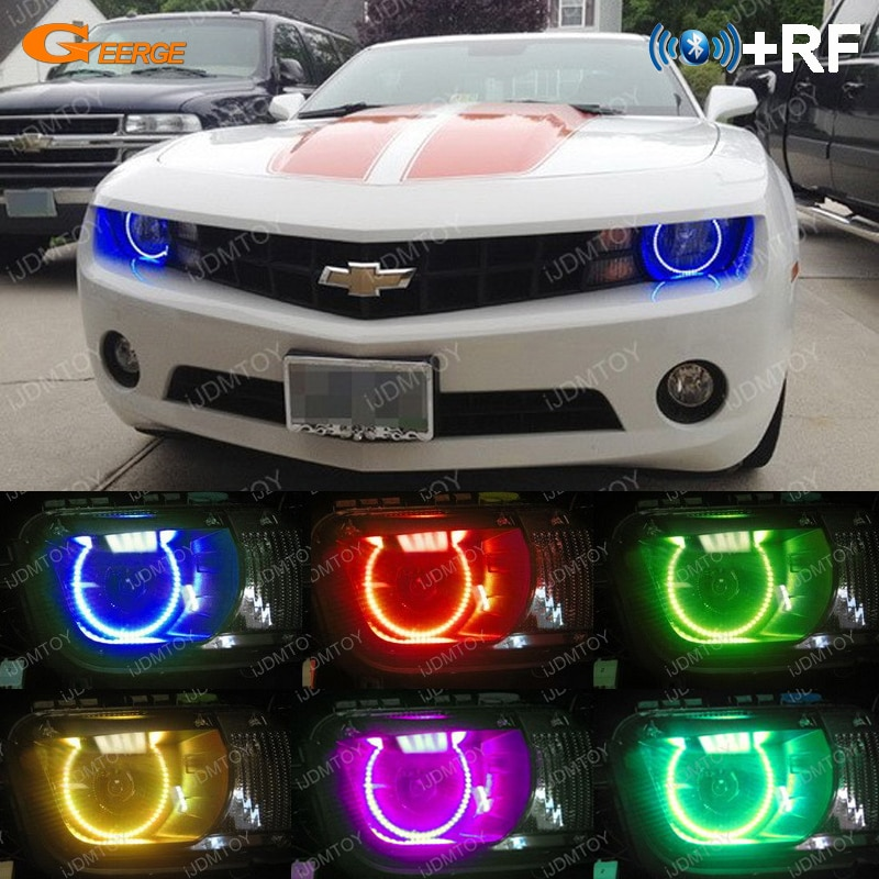 Para Chevrolet Chevy Camaro 2009, 2010, 2011, 2012, 2013 RF remoto Bluetooth APP Multi-Color Ultra brillante RGB kit de luces LED Ojos de Ángel