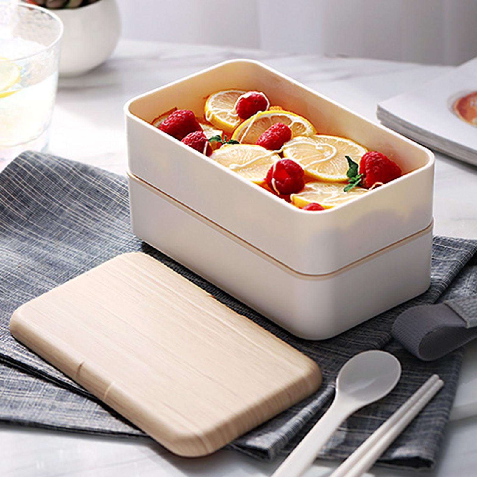 Double Layer Wood Grain Lunch Box Multifunctional Microwave Plastic Lunch Storage Box